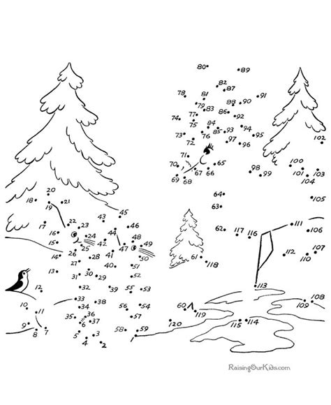 Tree Dot To Dot Coloring Pages Christmas Connect The Dots Worksheets Printable by Tree Dot To Dot Coloring Pages
