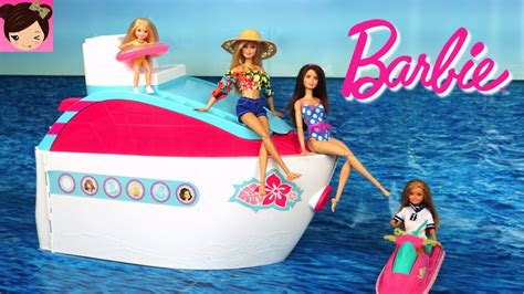 barbie ship videos barbie pink cruise ship morning routine pool water slide