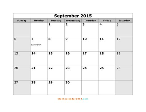 Blank Calendar For September 2015 7 Best Images Of Free Printable September 2015 Calendar