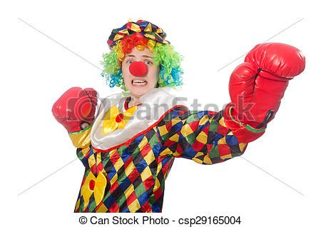 stock photography of clown with boxing gloves isolated on
