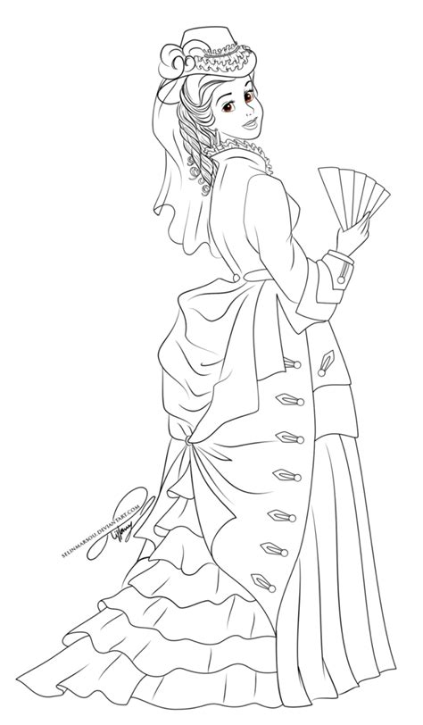 japanese princess coloring pages lineart vintage princess by selinmarsou on deviantart