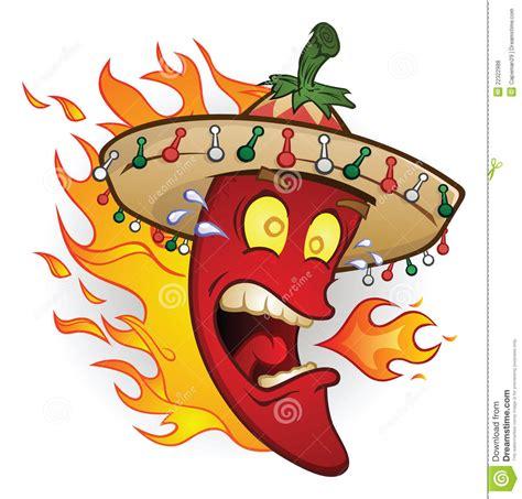Cabe Jalapeno Mexico flaming sombrero chili pepper stock vector illustration