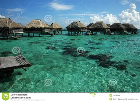 south pacific overwater bungalows overwater bungalows in south pacific stock photos image