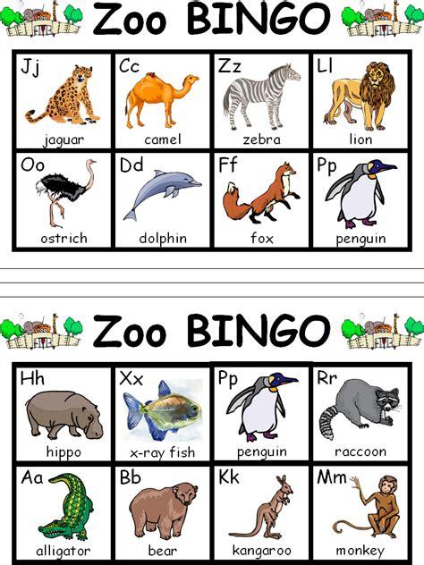 printable zoo animal bingo cards color word bingo game