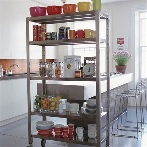 Extra Kitchen Storage Ideas | picture of kitchen with a room divider as extra storage