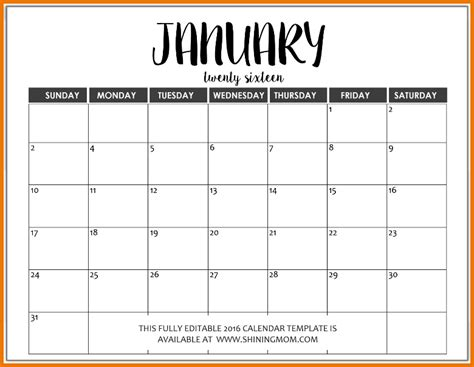microsoft word calendar template just in fully editable 2016 calendar templates in ms word
