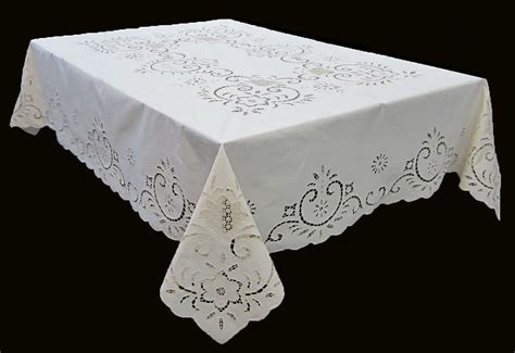 cutwork embroidered table linens embroidered cutwork tablecloth beige white square