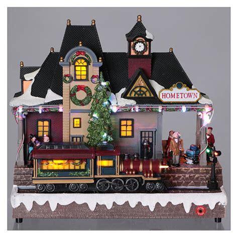 animated christmas village with train illuminated and animated station sales on holyart