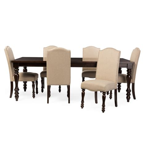 Studio Dining Table Set Baxton Studio Zachary Chic Vintage Oak Brown 7 Dining Set With 72 Inch Extendable