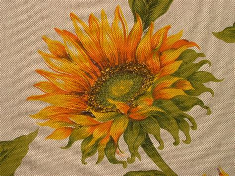sunflower curtain fabric sunflower floral linen look fabric curtain upholstery quilting