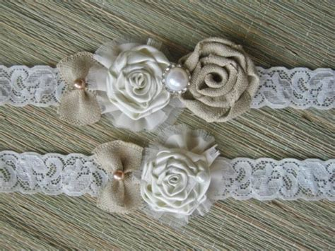 Rustic Wedding Garter Ivory Garter Rustic Wedding Shabby Chic Wedding Accessories