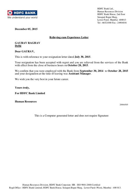 Relieving Letter Format Sle Pdf relieving letter experience certificate format best of