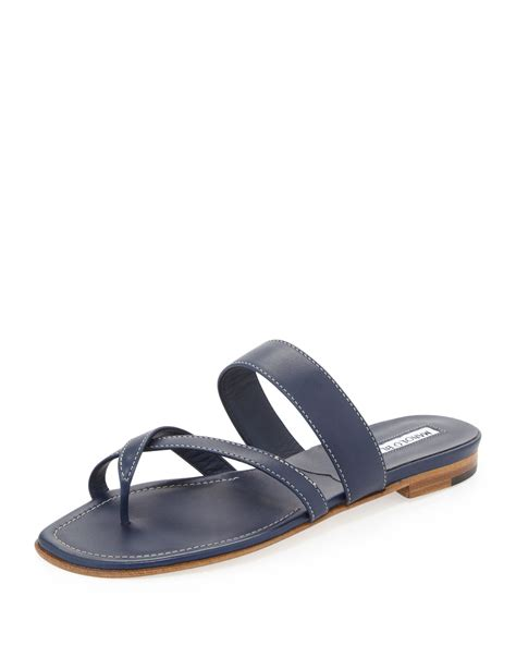 navy blue sandals manolo blahnik susa flat leather sandal in blue navy lyst