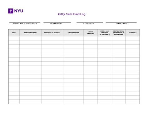 petty cash log templates forms excel  word