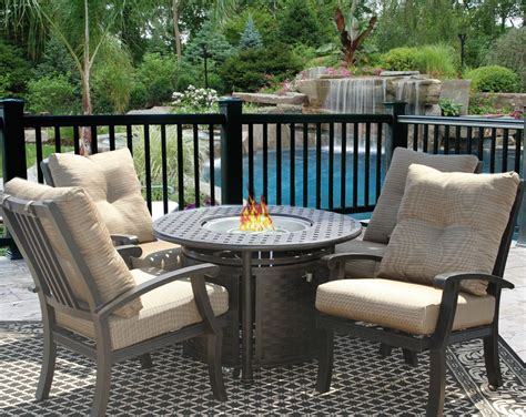 Barbados Cushion Fire Pit Outdoor Patio 5pc Dining Set for