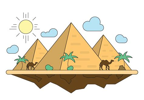 Drawing Clipart by Illustration With Pyramids Free Vector