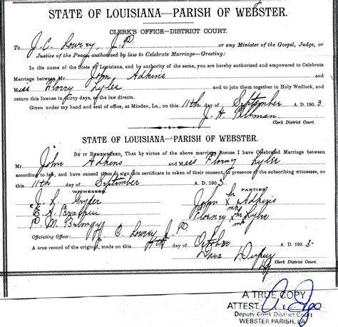 Marriage License Records Louisiana Rdfulks Genealogy For David Atkins