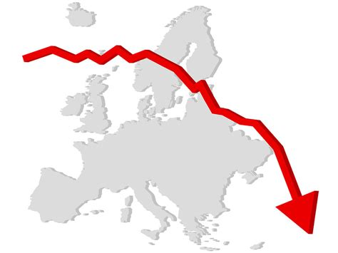 graph europe  stock photo falling graph   map
