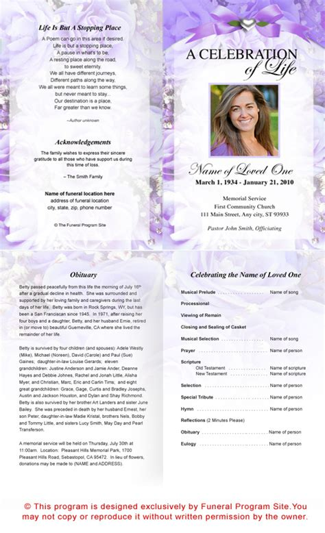 free printable funeral program template 7 best images of printable funeral program templates