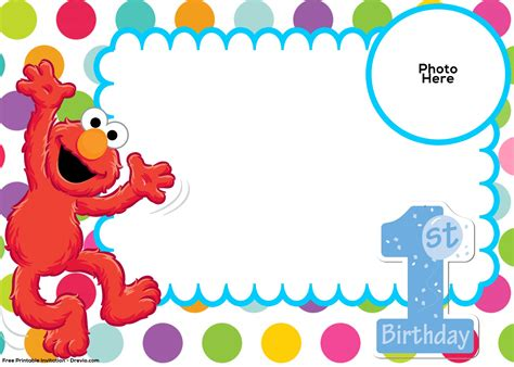 elmo birthday card template free sesame 1st birthday invitation template free