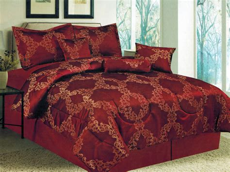 red damask comforter set 7 pc floral motif damask striped jacquard comforter set