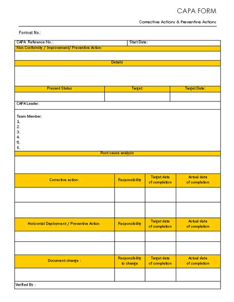 capa form template free capa form corrective and preventive