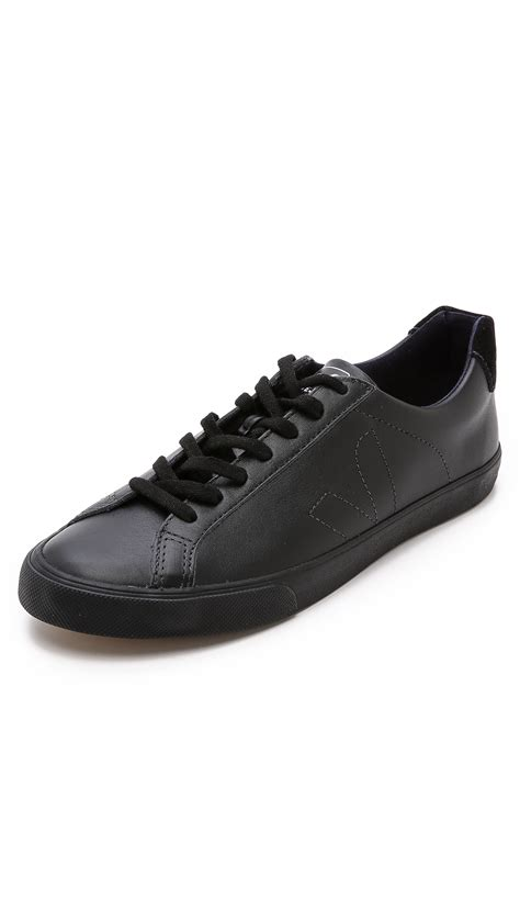 veja shoes veja esplar leather sneakers in black for black black