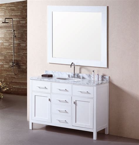 Adorna 48 inch single sink bathroom vanity set carrera white top