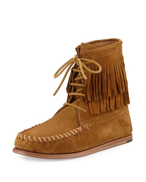 laurent fringed suede moccasin boots in brown lyst