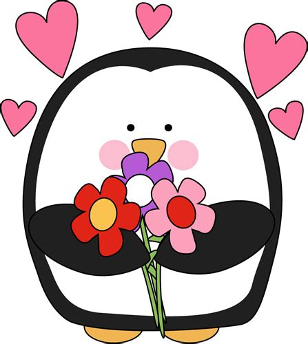 free clipart valentines day s day penguin with flowers clip