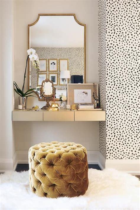 Gold Bedroom Vanity by Gold Floating Makeup Vanity Transitional Bedroom