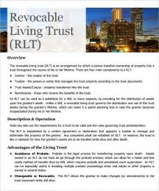 Living Revocable Trust Template by Sle Living Trust Form Template 10 Sles Exles