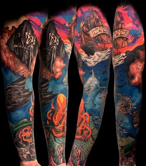 pirate sleeve tattoo designs 78 ideas about pirate ship tattoos on pirate