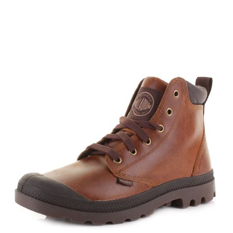 palladium boots mens palladium pa hi cuff leather chocolate