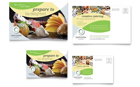 free catering business card and brochure templates food catering postcard template design