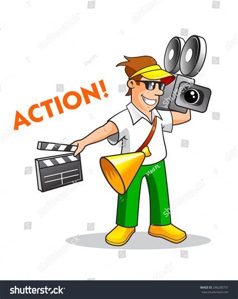 cartoon film creator cartoon film maker or director with a camera speaking