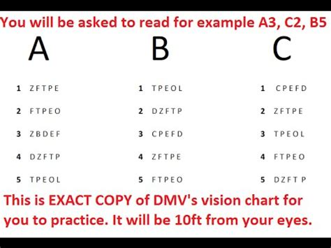 dmv vision test for class c vehicles youtube
