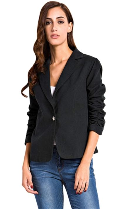 Sheer Plain Blazer In Black womens plain turndown collar one button design blazer