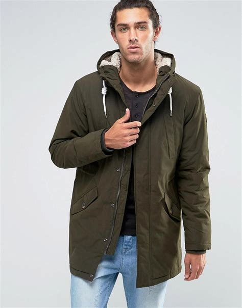 Parka Esprit esprit fish parka with teddy lining in khaki in black for lyst