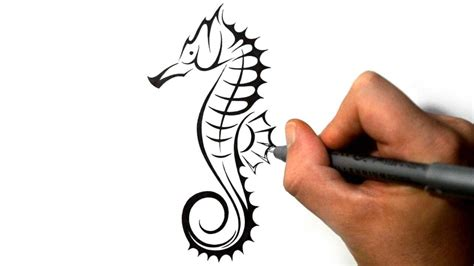 seahorse tribal tattoo how to draw a seahorse tribal design style