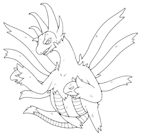 pokemon coloring pages hydreigon hydreigon lineart by nastyjungle on deviantart