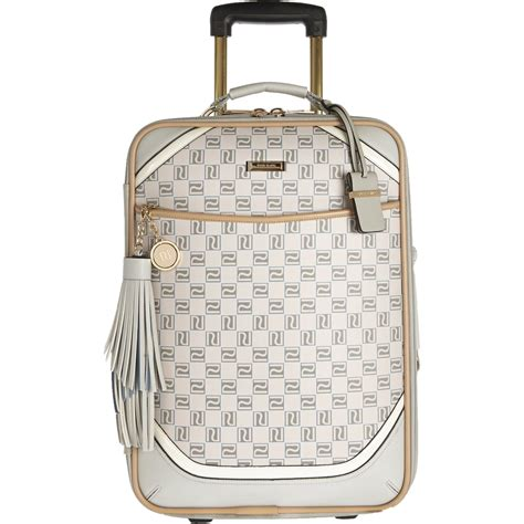 river island beige monogram wheelie suitcase  natural lyst