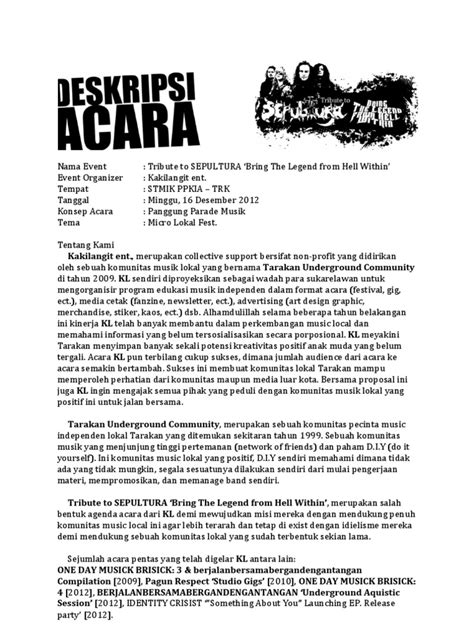 format proposal acara proposal acara musik metal