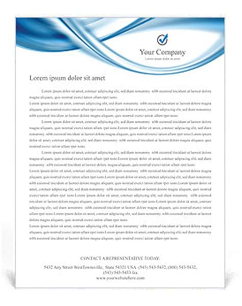blue abstract waves letterhead template & design id