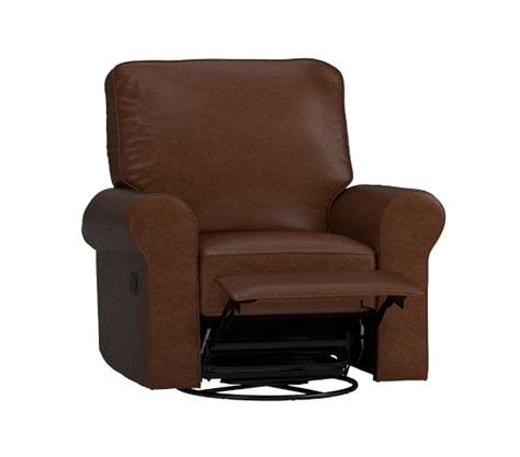 leather comfort swivel rocker recliner pottery barn