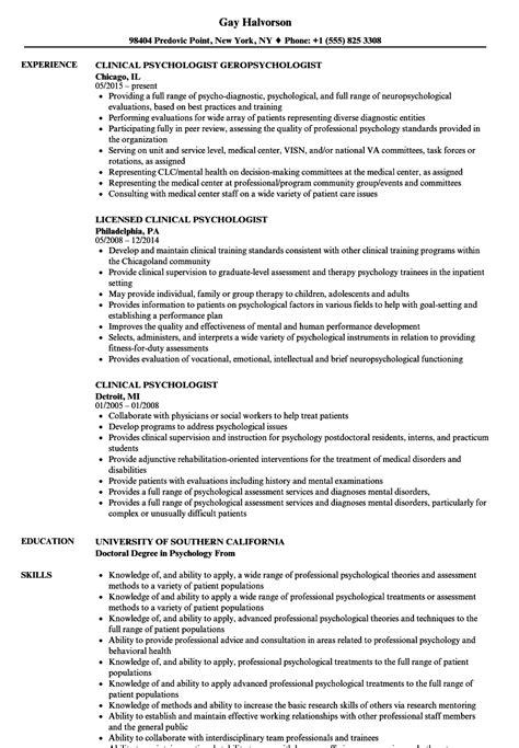Psychologist Resume by Clinical Psychologist Resume Sles Velvet