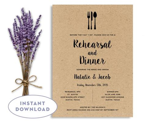 rehearsal dinner invitation template wedding rehearsal