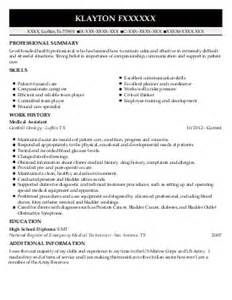 Operating Room Assistant Sle Resume by Operating Room Assistant Resume Exle Laporte Hospital Portage Indiana