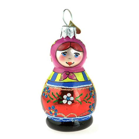 russian doll glass christmas decoration by bombki