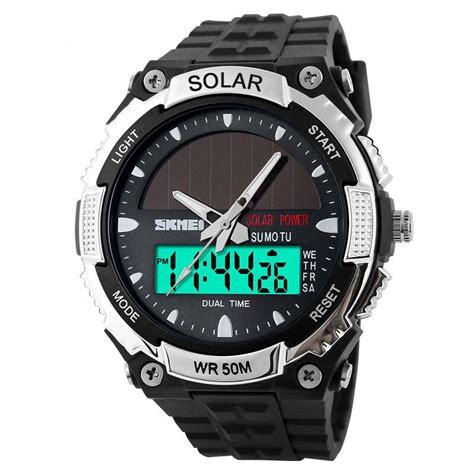 Murah Jam Tangan Pria Skmei Solar Sport Led Water Resist 50m Dg1126 skmei jam tangan solar digital analog pria ad1049e silver jakartanotebook